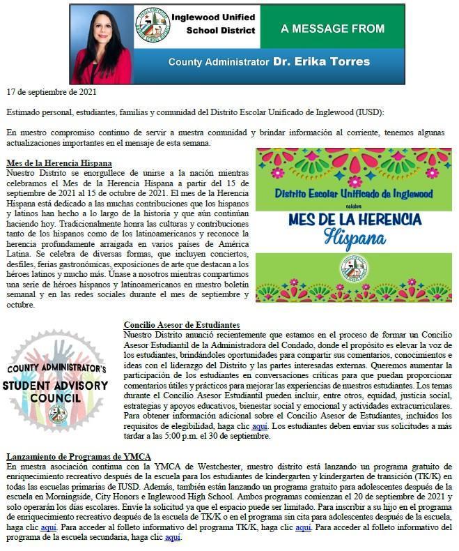 Comunicación a Padres, Familias, y Comunidad de IUSD - 9-17-2021 Featured Photo