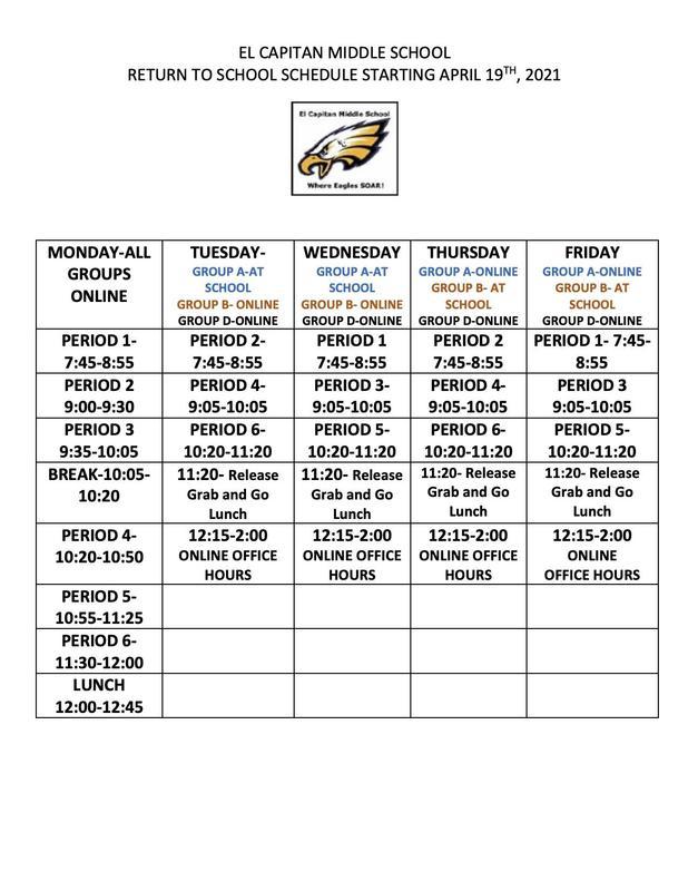 Return to School Bell Schedule