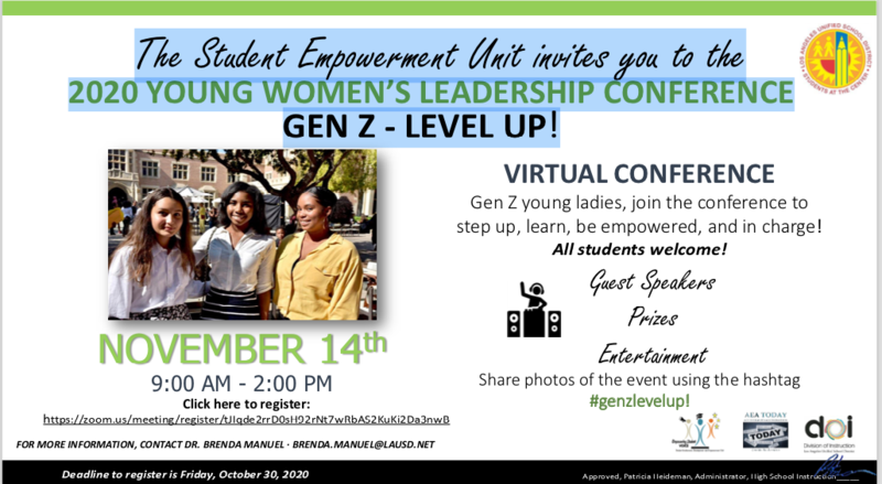 The Student Empowerment Unit invites you to the 2020 YOUNG WOMEN'S LEADERSHIP CONFERENCE Featured Photo