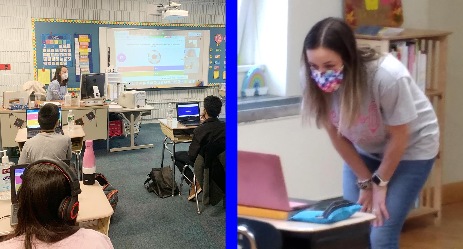 Two-tile photo: Teachers using technology to address students at home, as well as those in their classrooms