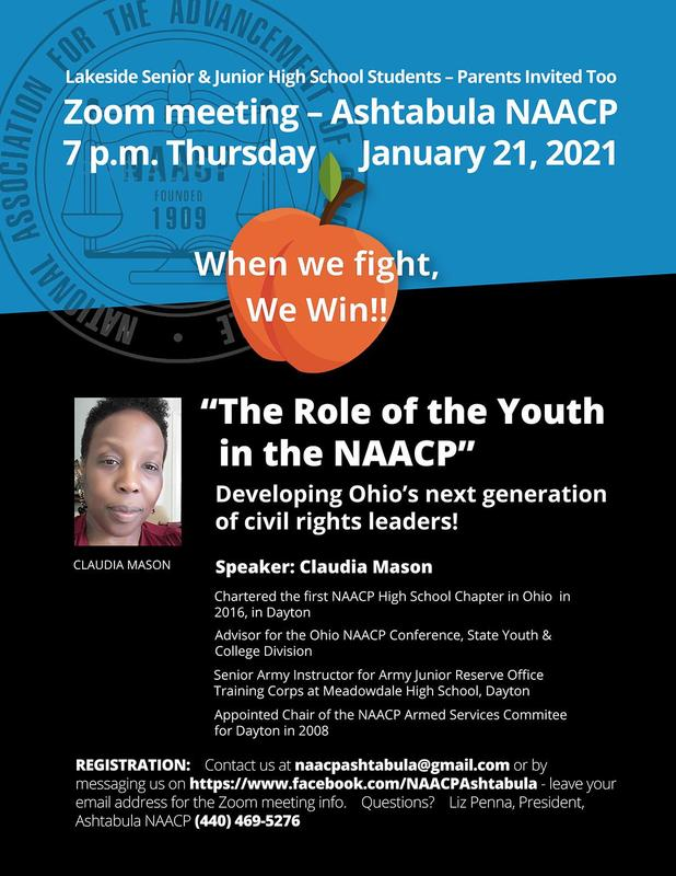 """Claudia Mason, a groundbreaking leader for youth in the Ohio NAACP, will be speaking on """"The Role of the Youth in the NAACP"""" via Zoom at the next meeting of the Ashtabula NAACP Featured Photo"""