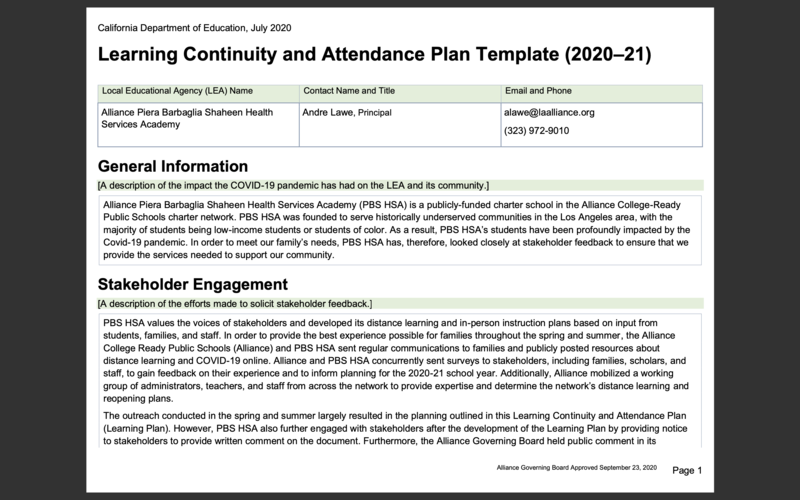 Learning Continuity and Attendance Plan (2020-21) Thumbnail Image