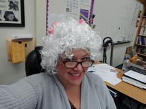 Principal Shepherd dressed as an old lady.