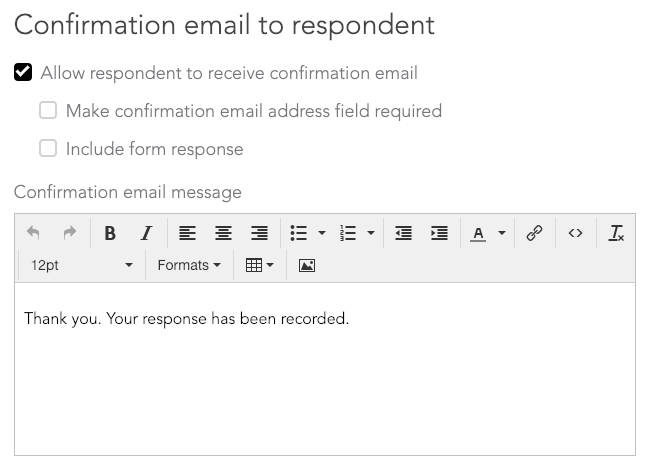 Confirmation email to respondent