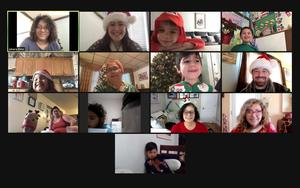 Class smiling on zoom