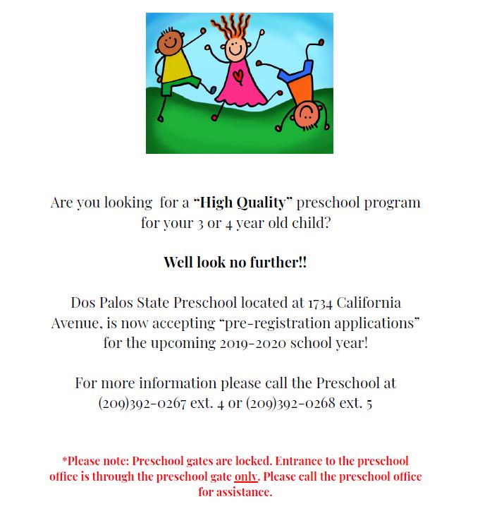 Preschool Pre-Registration 2019 Featured Photo