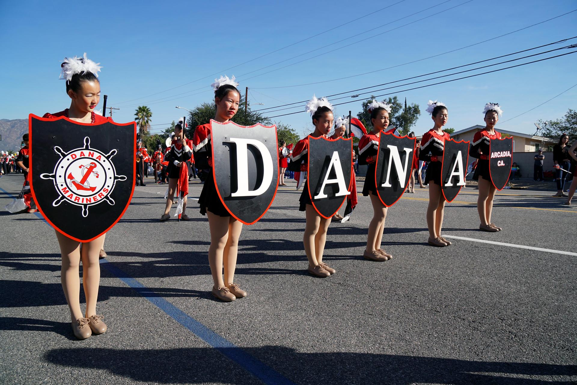 Dana Middle School Drill Team with Dana Sign