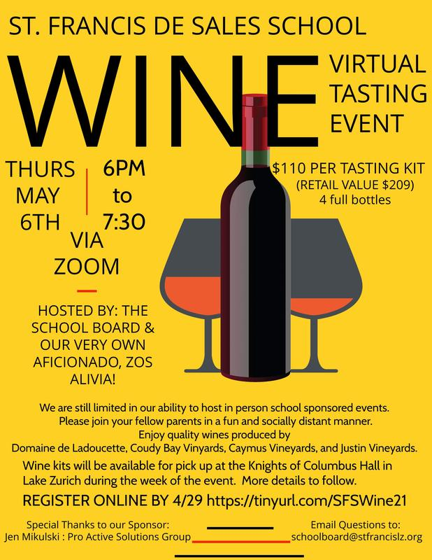 NEW DATE: SFS Virtual Wine Tasting May 6th Featured Photo