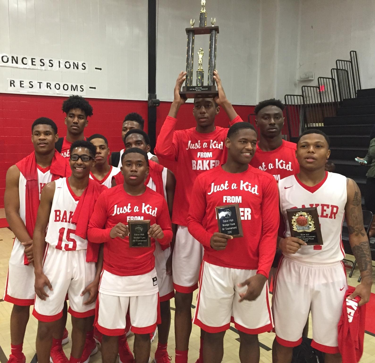 4cd0c012b6783 Photo of the Baker High Boys Basketball team after winning the Wedge Keyes  Tournament
