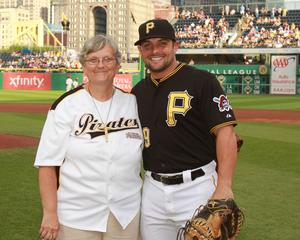 photo of Sr. Francine with Pirates catcher