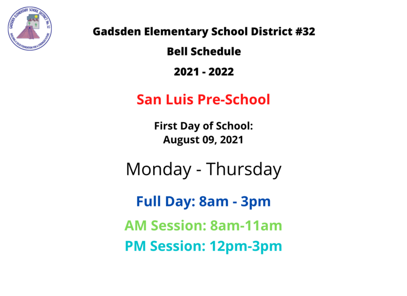 San Luis Pre-School Schedule 2021-2022 Featured Photo