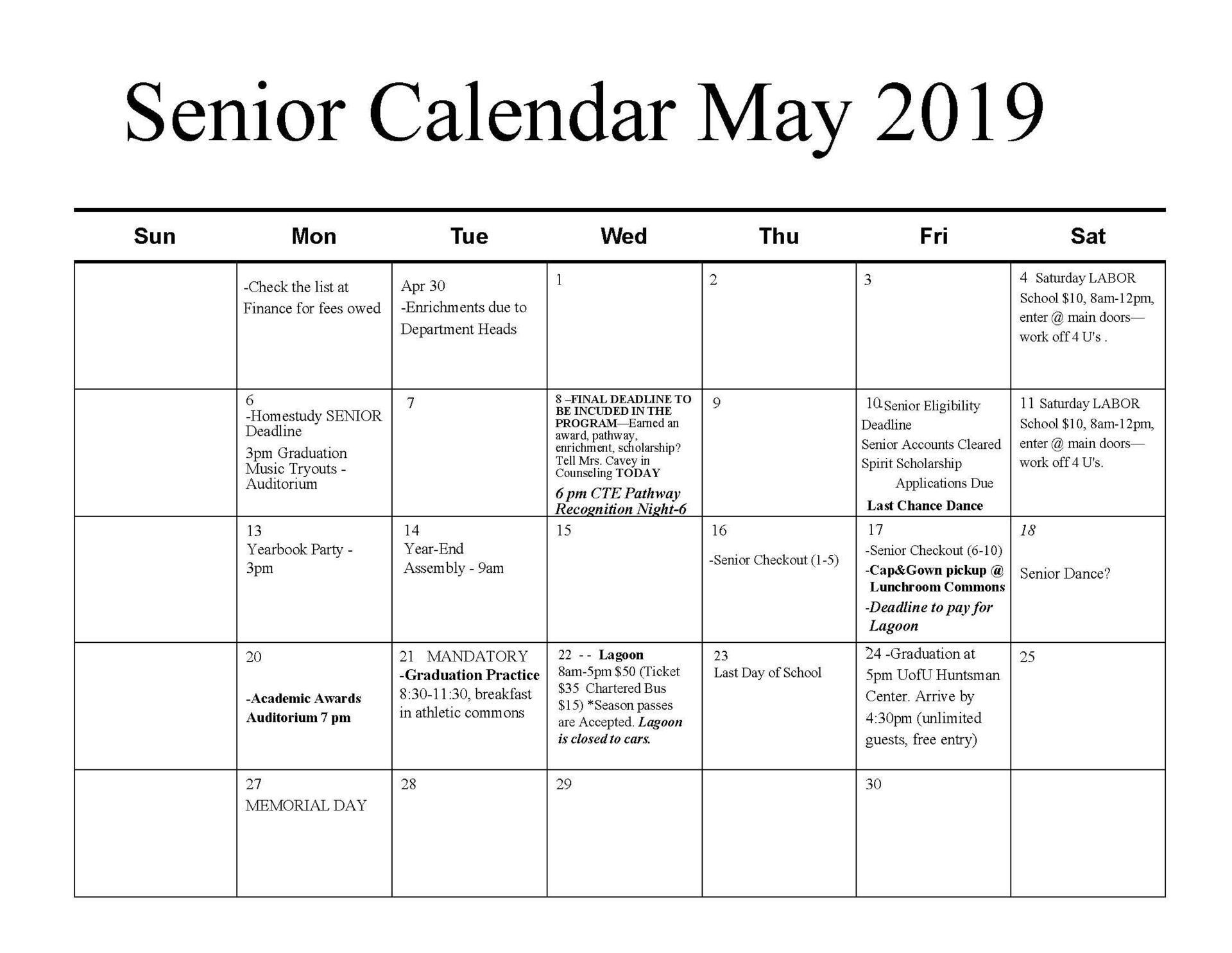 Senior Calendar 2019