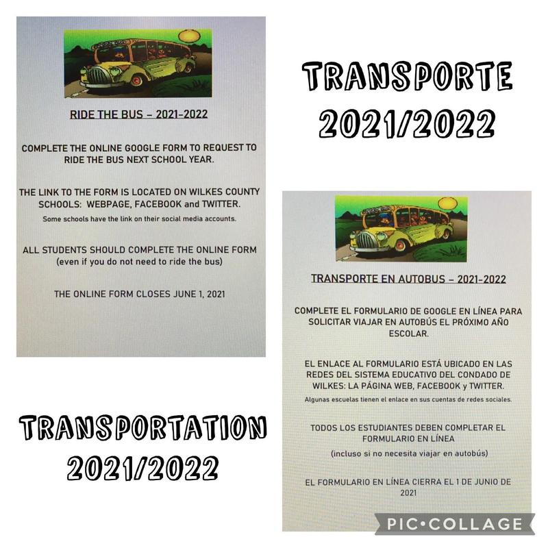 transportation flyer for the 2021/2022 year