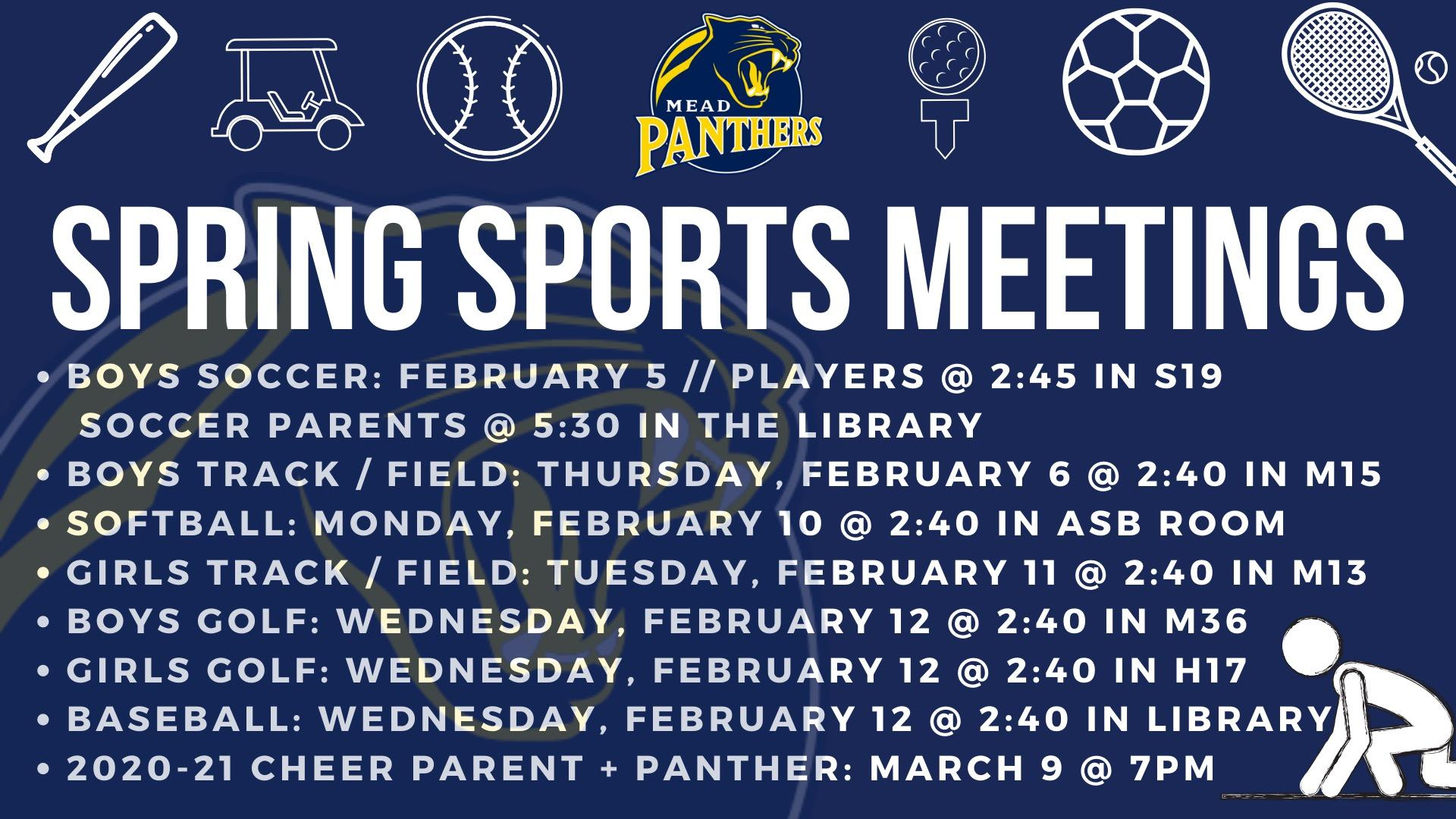 SPRING SPORTS PARENT MEETINGS