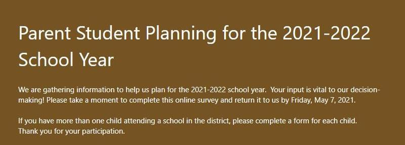 Help us plan for school next year