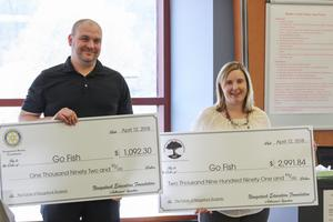 Two Naugatuck teachers hold up giant checks from the Naugatuck Education Foundation grant