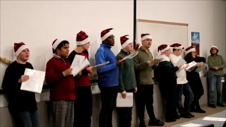 Students singing at holiday music concert