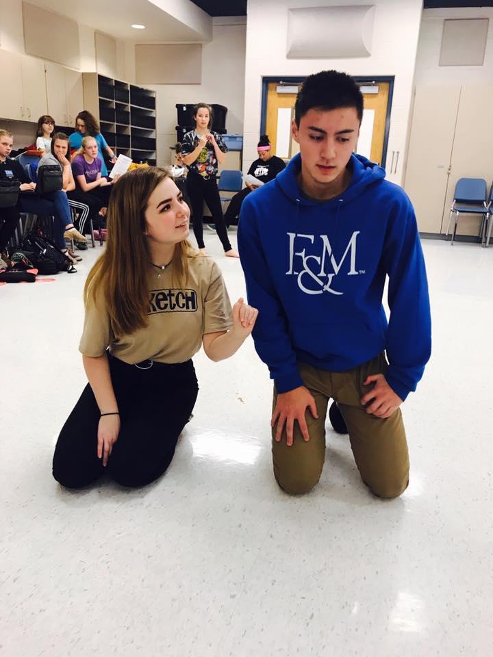 Molly Brennan (12) & Yoshi Allen (11) rehearse a scene from Romeo & Juliet