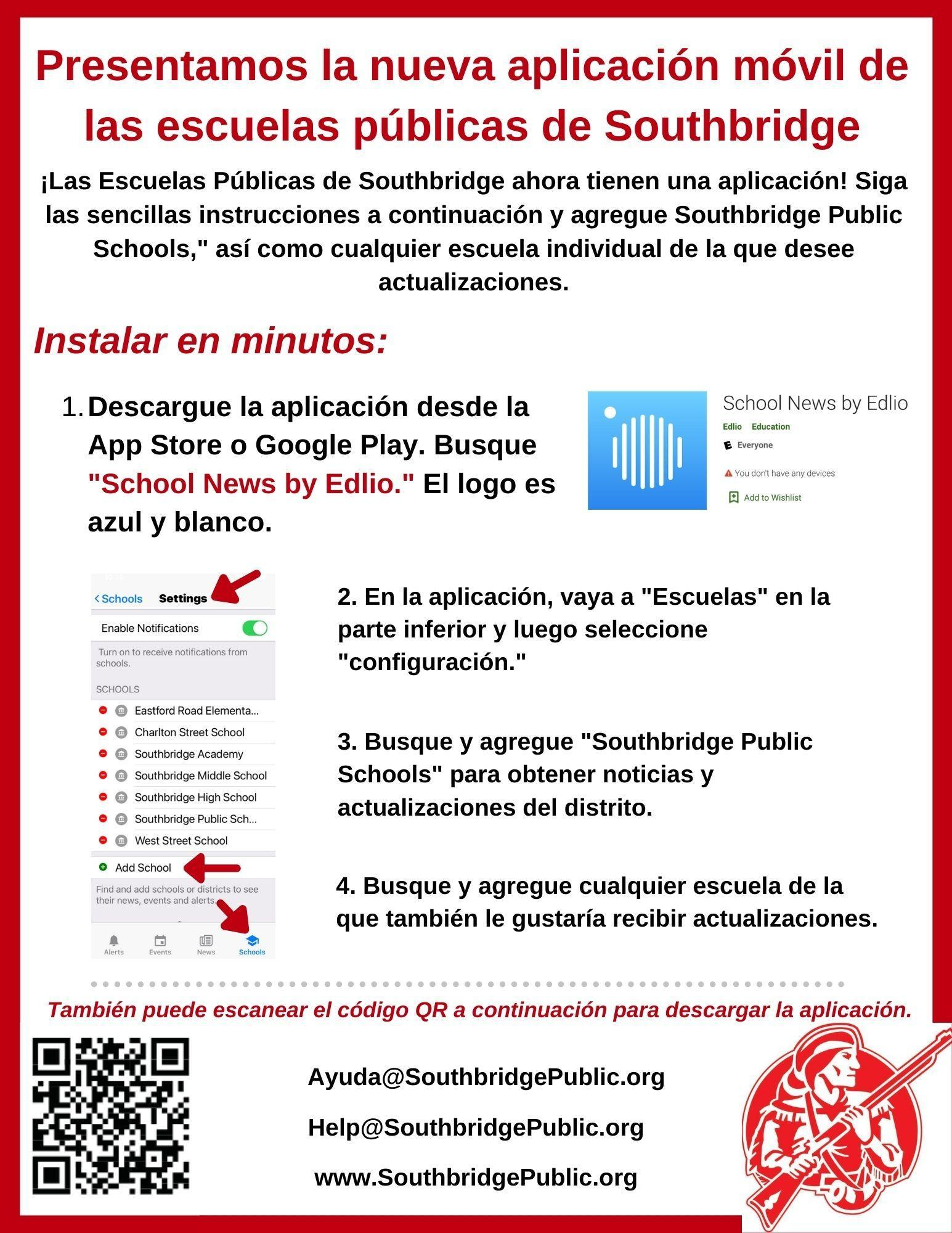 Flyer in Spanish about the Southbridge Public Schools Mobile App.  All information is also in the text on this page.