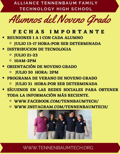 Attention: 9th Grade Scholars/ Atención: Alumnos del Noveno Grado Thumbnail Image