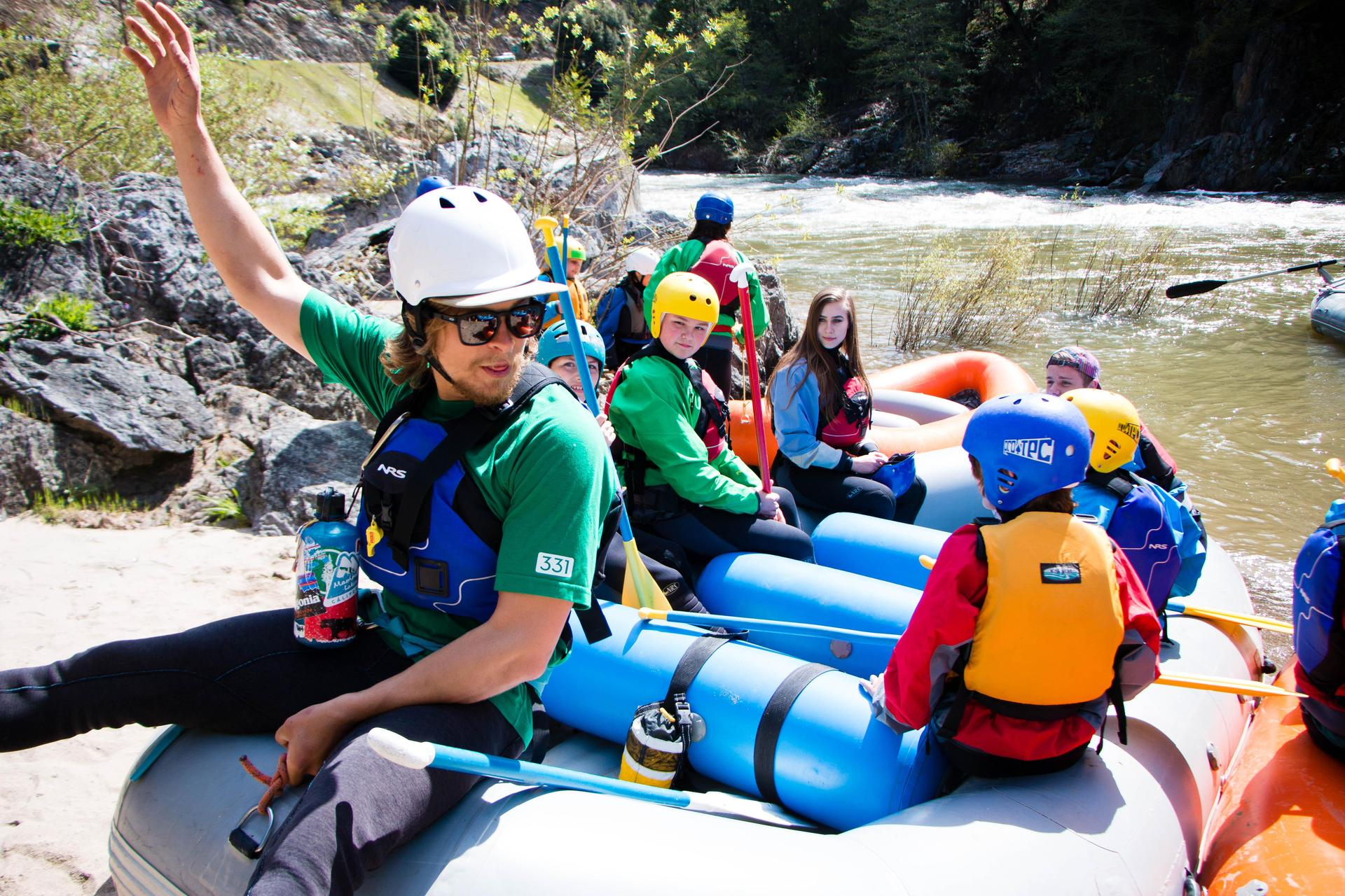 FRC Outdoor Rec Student Rafting with 6th graders