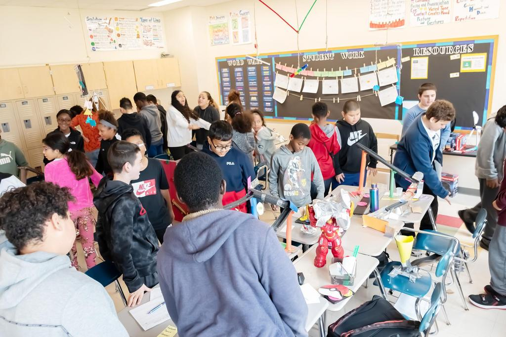 The inside of a Keverian School classroom filled with students during the STEM Week Open House
