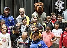 Officer McGruff speaks to the students
