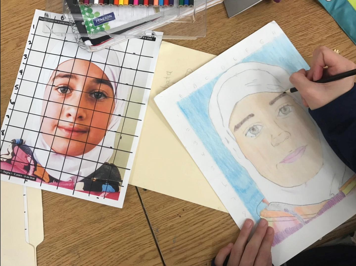 portrait and pictures side by side of a Syrian girl