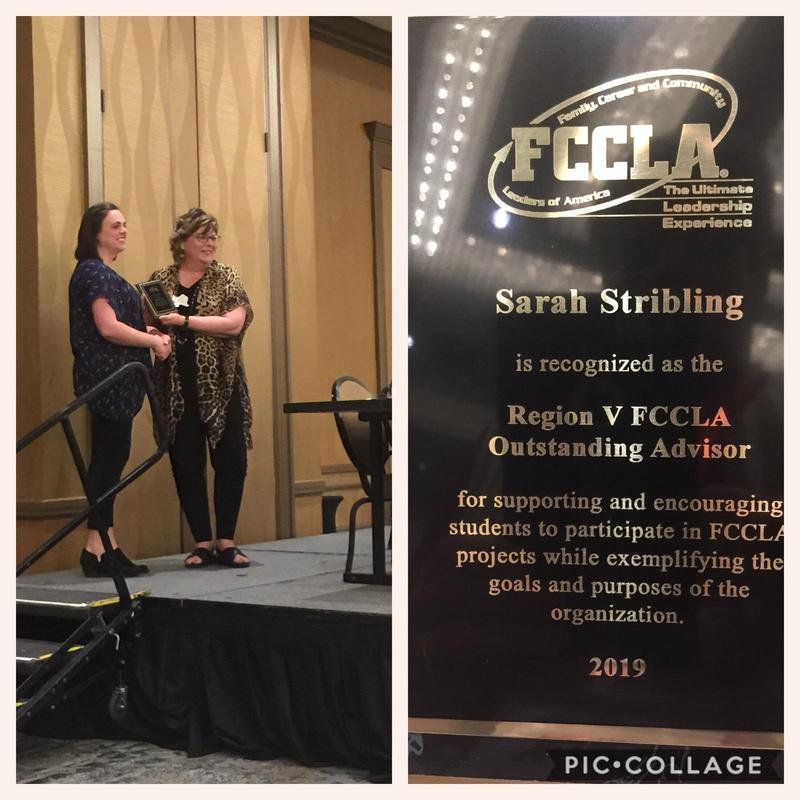 Mrs. Stribling Recognized as Region V FCCLA Outstanding Advisor! Thumbnail Image