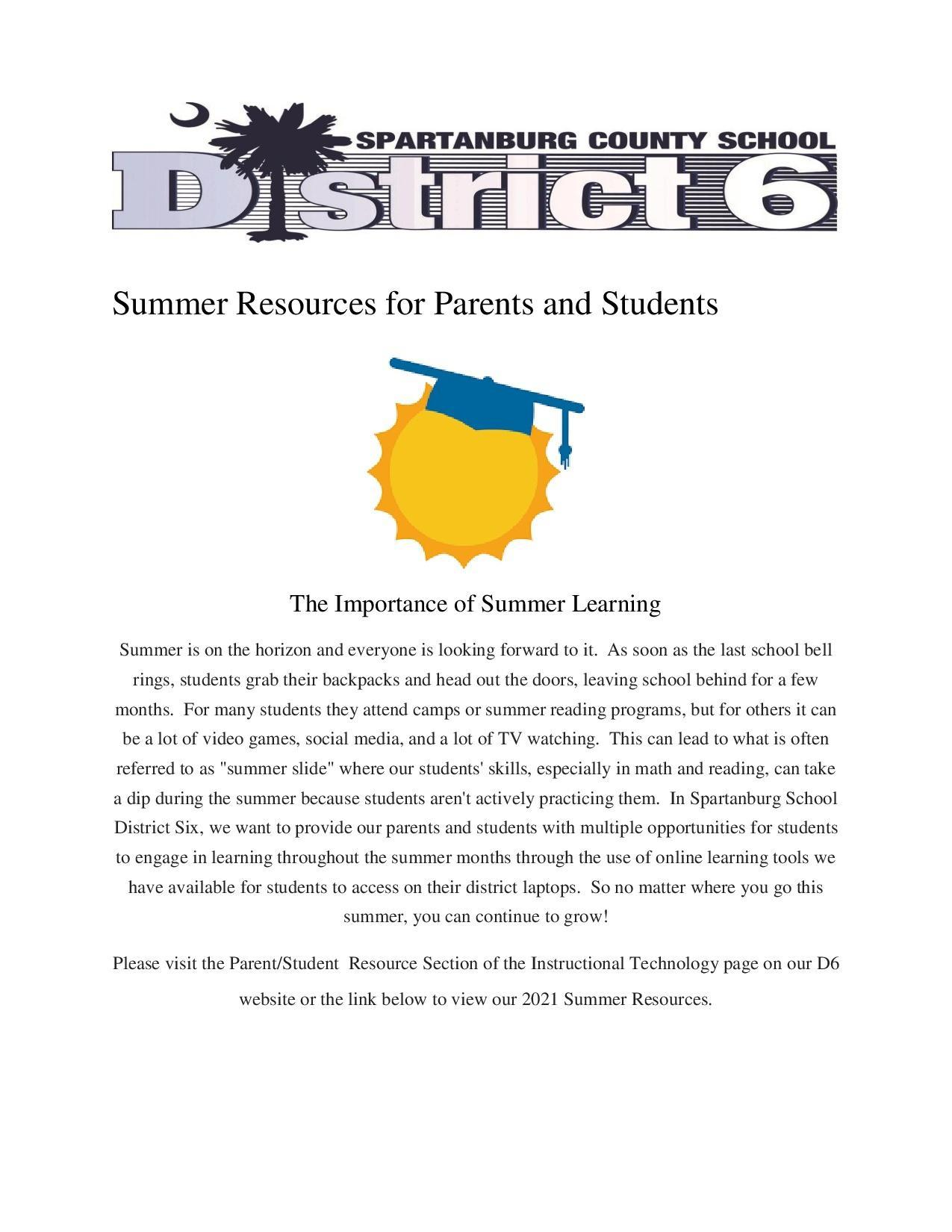 Summer Resources for Parents and Students