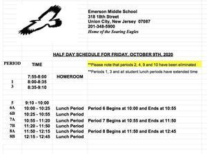 10/9/2020 Schedule