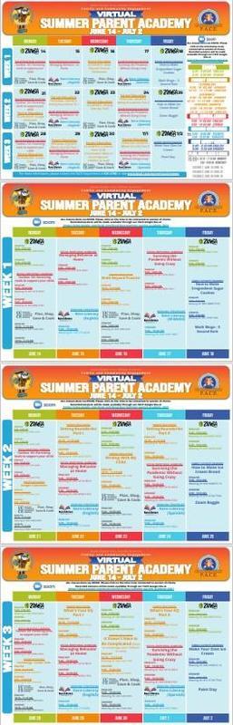 Summer Parent Academy Calendar 2021