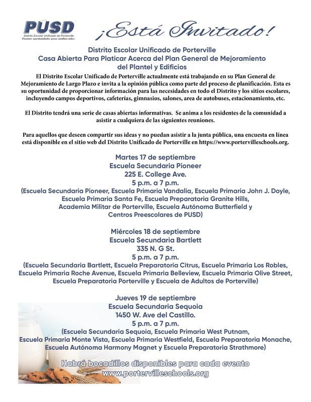 Facilities Open House Flyer Spanish