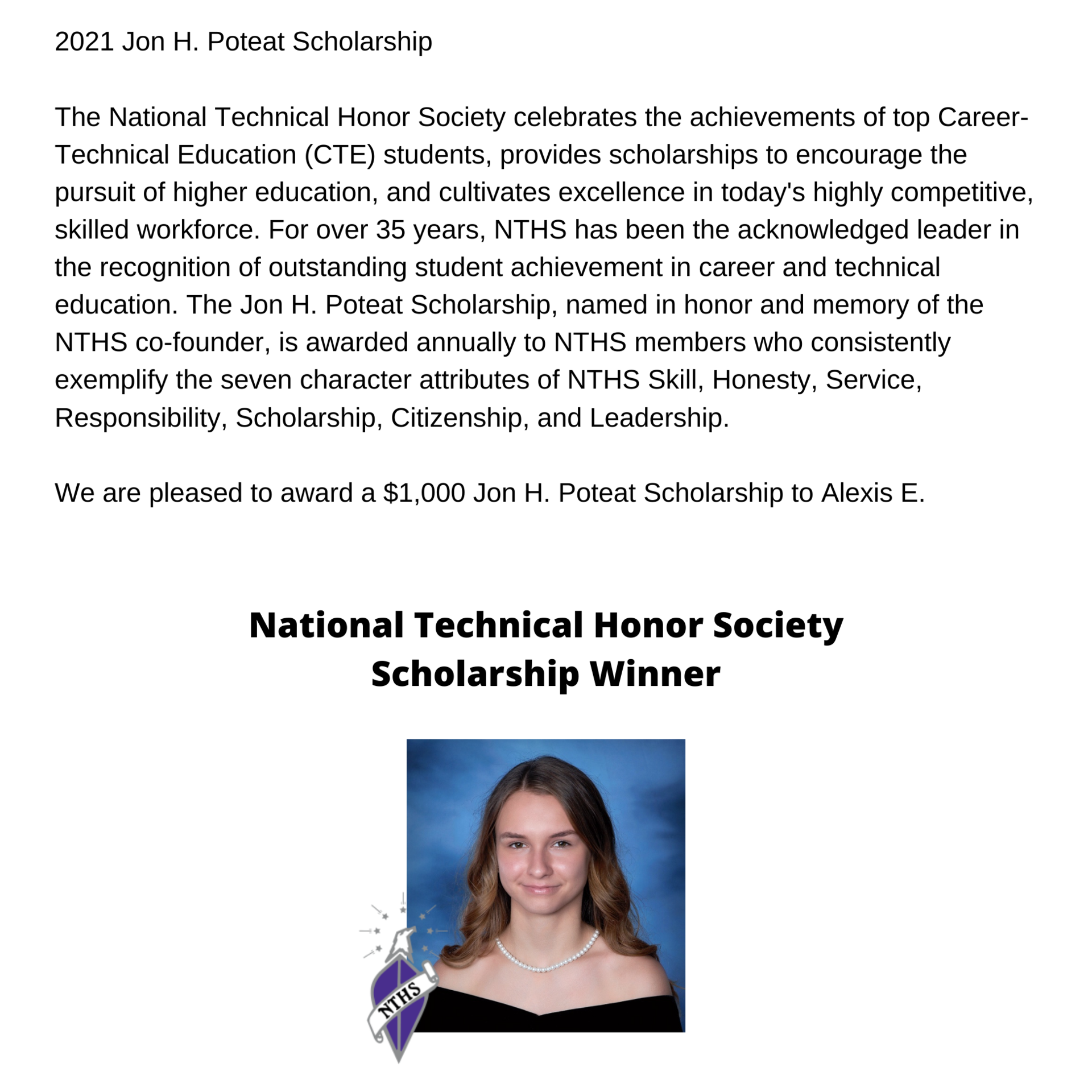 2021 scholarship winner