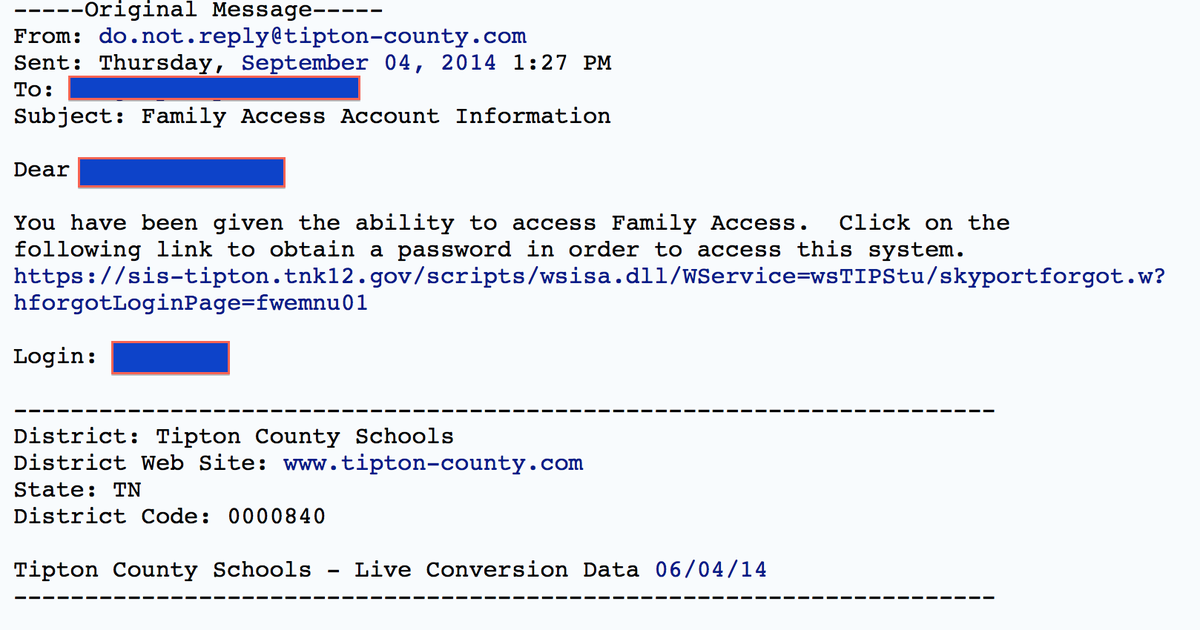 Automatic E-Mail Sample Information