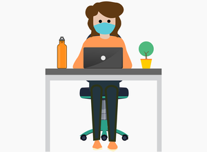 Cartoon drawing of girl at table with laptop.