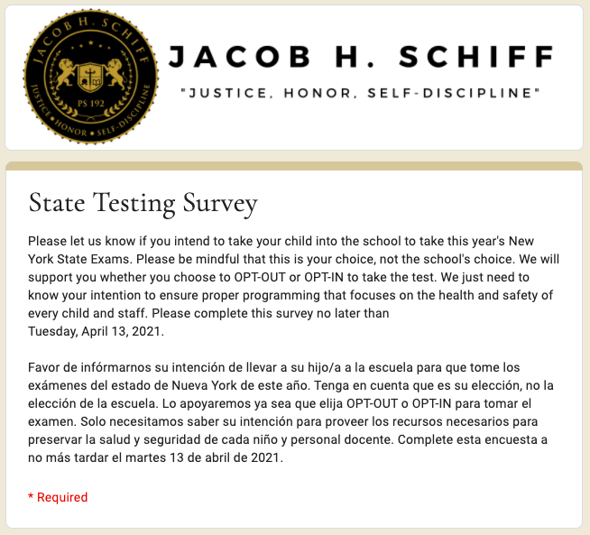 State Testing Survey Preview Image in English