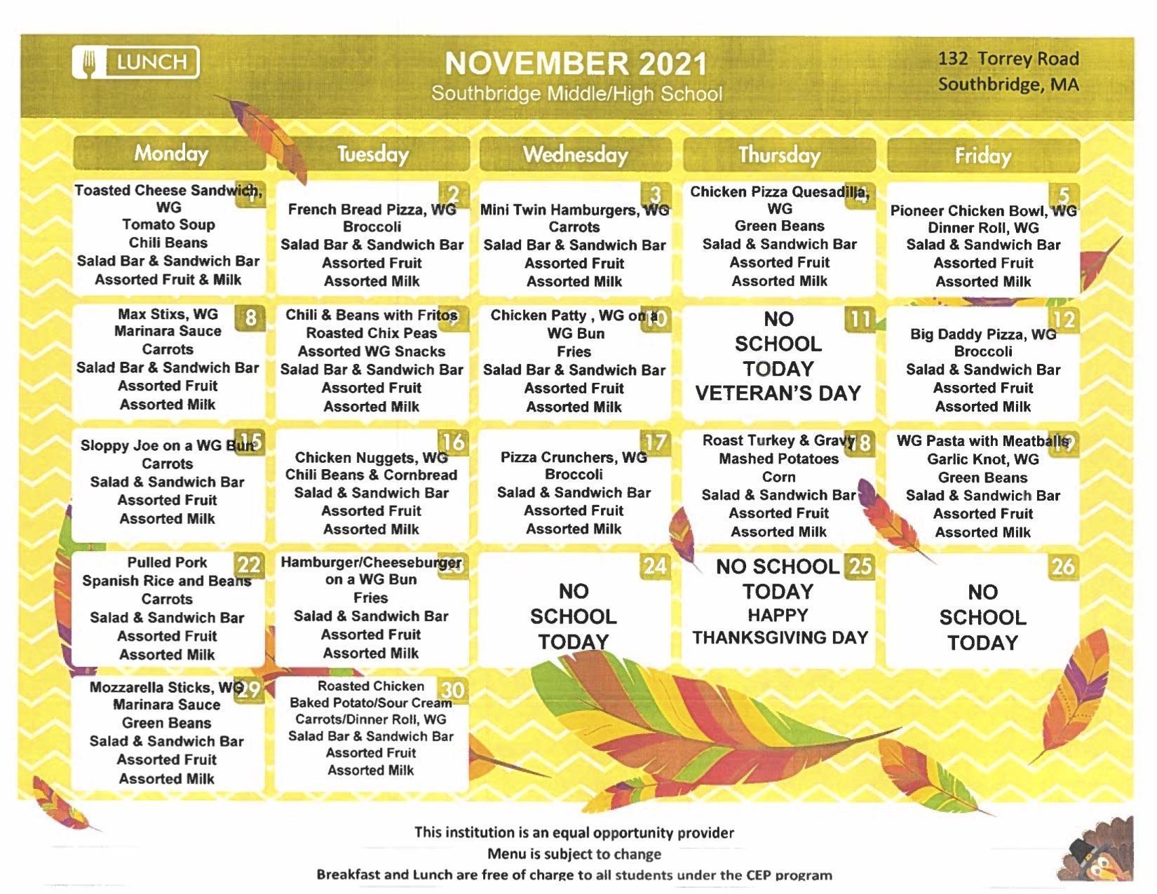 Southbridge Middle High School menu November 2021