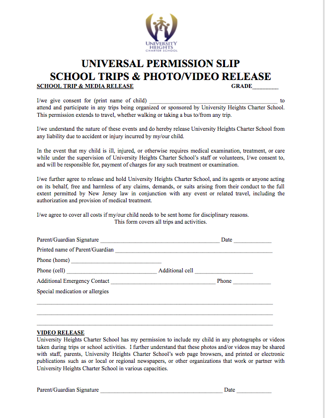 media release form elementary school university heights charter