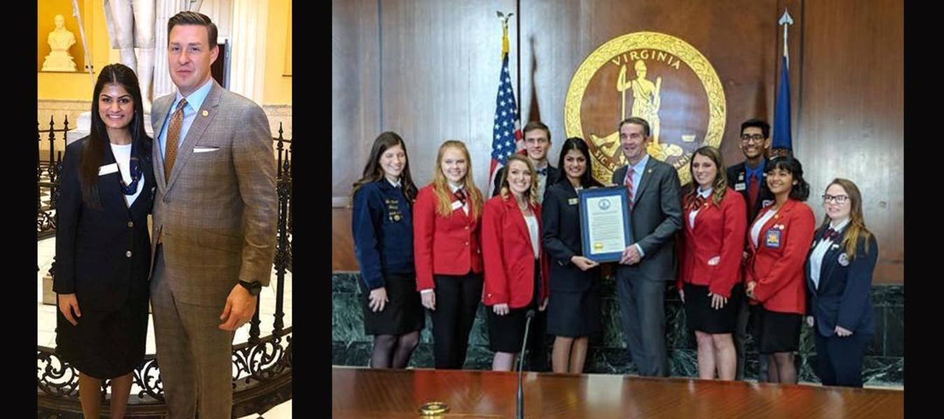 Hely Patel, VHS Senior and FBLA Virginia State President,  in Richmond with Del. Israel O'Quinn, Gov. Northam & CTSO leaders.  Gov. Ralph Northam presented a proclamation declaring February as CTE Month!