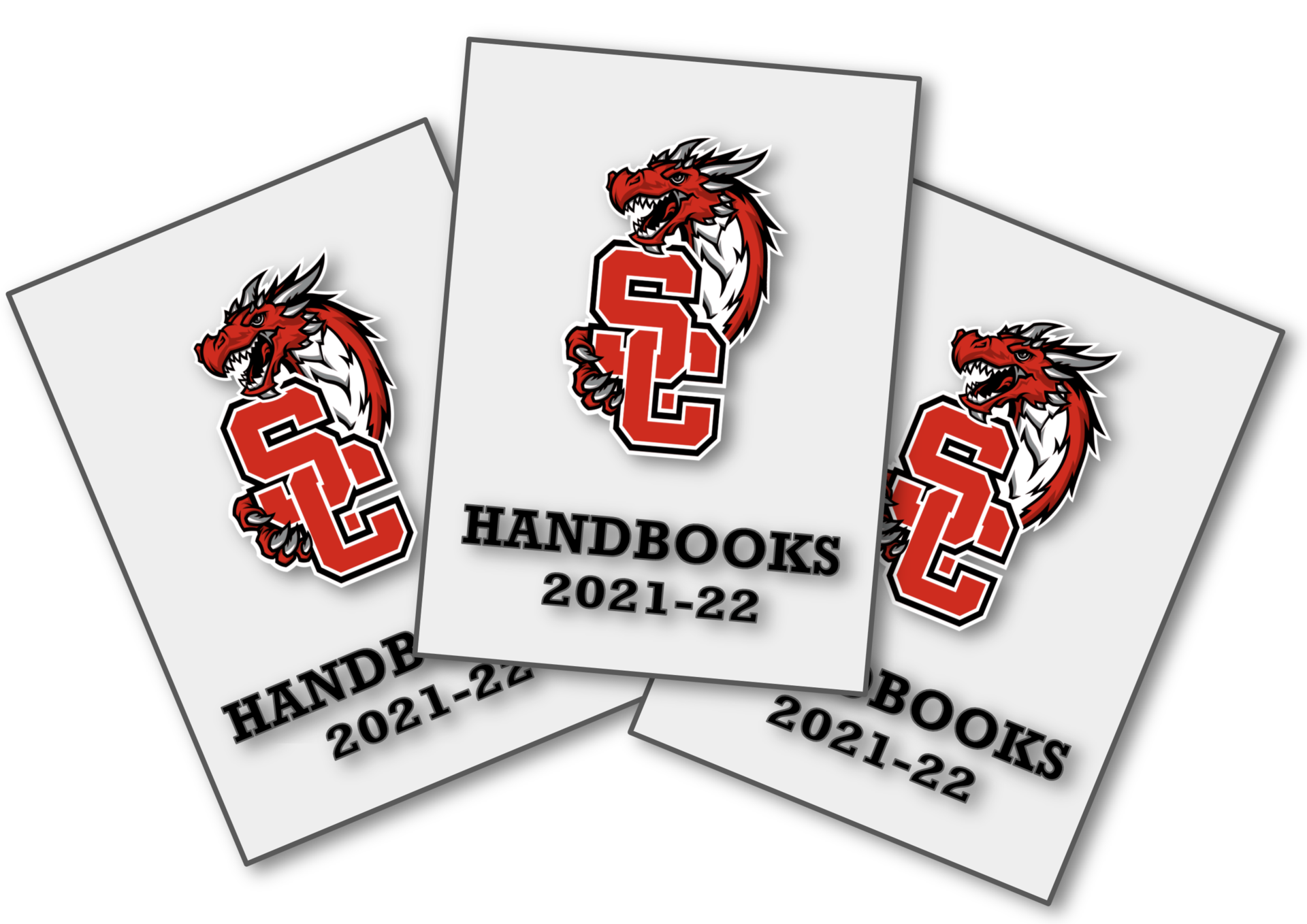 Three Parent-Student Handbooks overlapping each other.