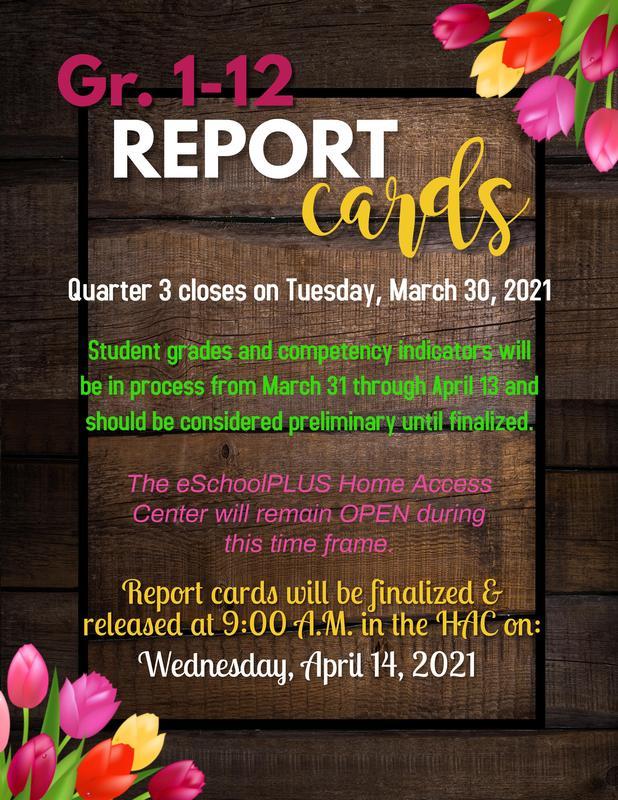 1-12 Quarter 3 Report Cards