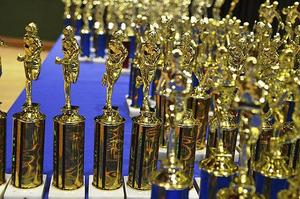 trophies at awards ceremony