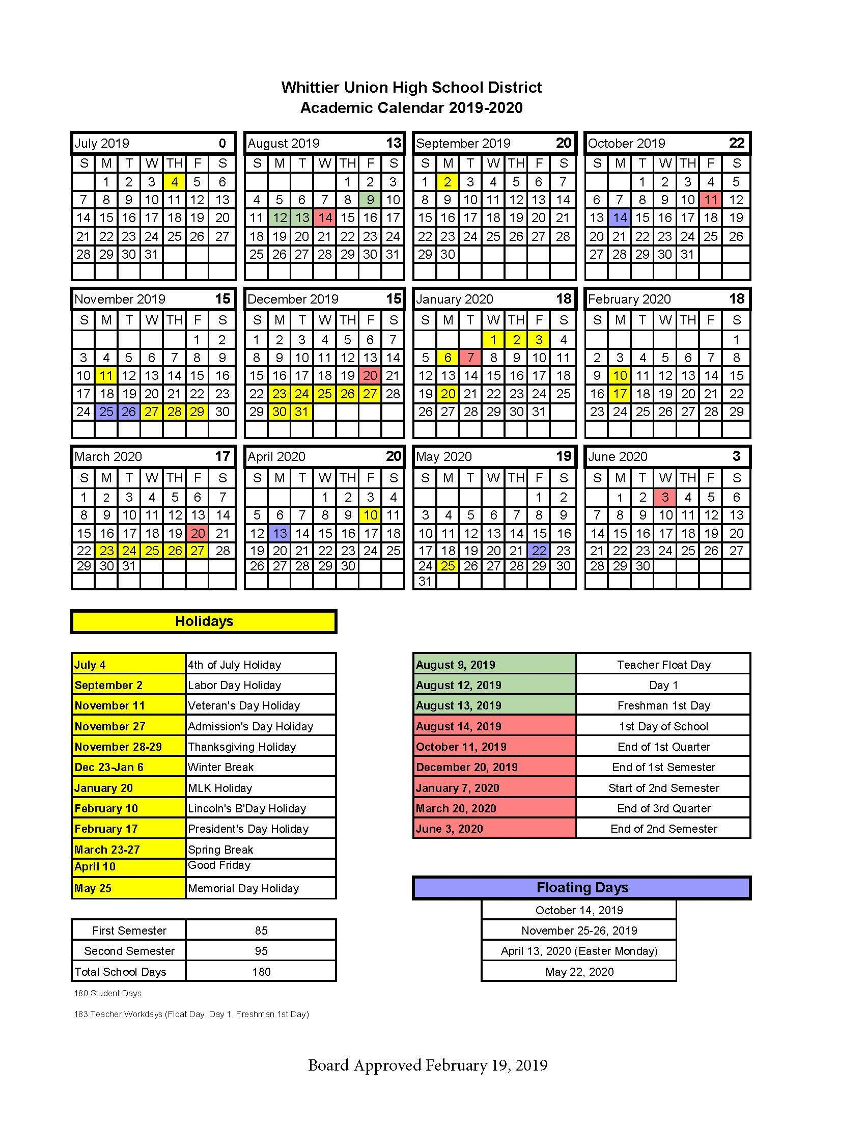 WUHSD Academic Calendars – District Information – Whittier