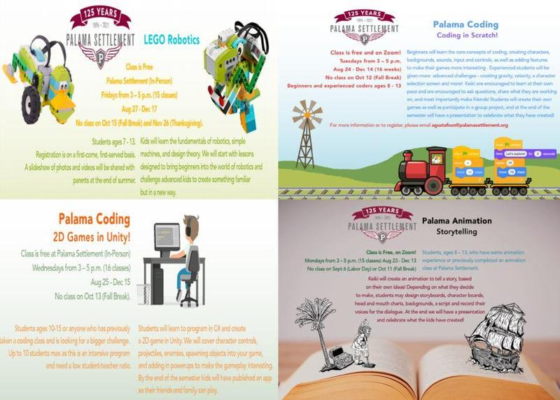 Fliers for Palama Settlement fall courses