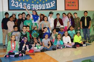mrs. cifareli's class posing in character day costumes