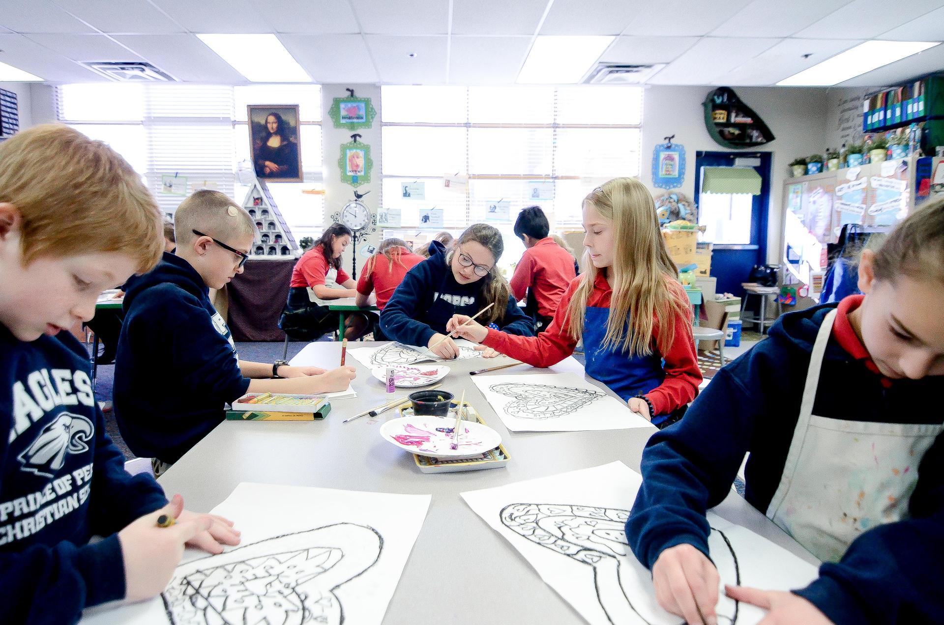 Lower School students in Art Class
