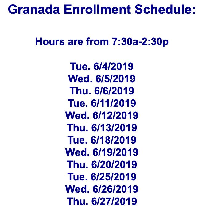 Granada Enrollment Schedule Featured Photo