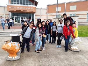 Manor ISD students in front of Hutto Middle School