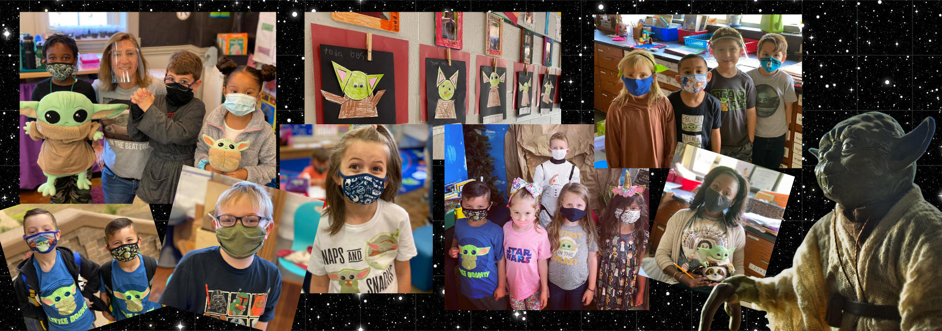 collage of photos with elementary students in their star wars t shirts